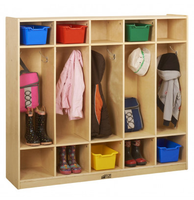 ECR4Kids Birch 5-Section Cubby Coat Locker
