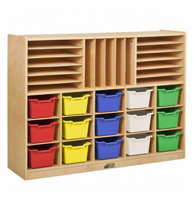 ECR4Kids Birch Multi-Section Classroom Storage Cabinet with Bins (Shown with Assorted Bins)