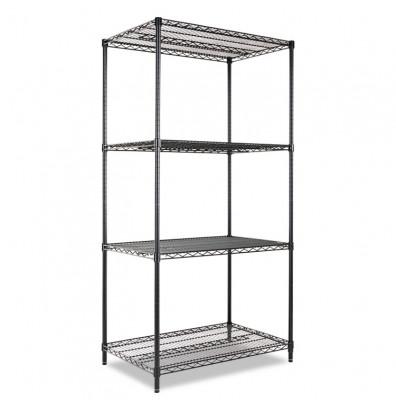 "Alera SW503624BL 36"" W x 24"" D x 72"" H 4-Shelf Wire Shelving Unit, Black"