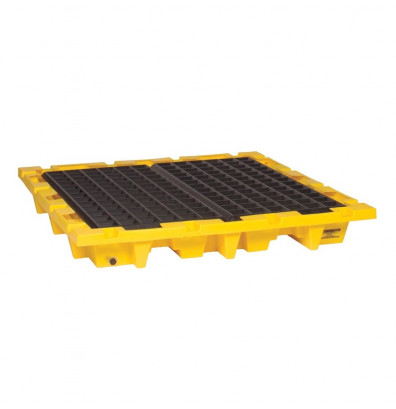 """Eagle 1646 4-Drum Nestable 58.5"""" W x 58.5"""" L Spill Containment Pallet with Drain, 66 Gallons, Yellow"""