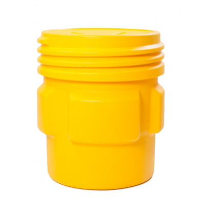 Eagle 1661 Overpack Screw Lid Poly Drum, 65 Gallons, Yellow