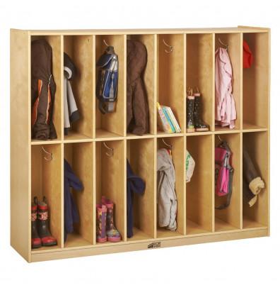 ECR4Kids Birch 16-Section Streamline Cubby Coat Locker