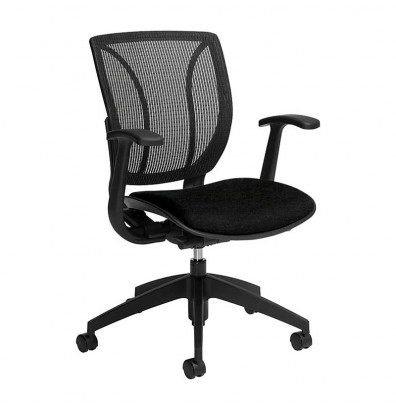 Global Roma 1906 Mesh & Fabric Mid-Back Office Chair. Shown in Black