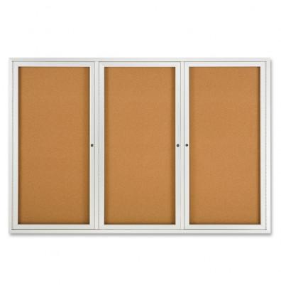 Quartet 2367 Indoor 3 Door 6 ft. x 4 ft. Aluminum Frame Enclosed Cork Bulletin Board