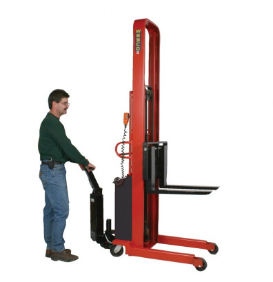 """Wesco PSFL-76-42-42S-2K-PD 76"""" Lift 2000 lb Load Powered Fork Stacker with Power Drive"""