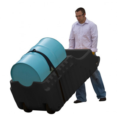 """Just-Rite Ecopolyblend 28665 32"""" W x 72"""" L Spill Containment Indoor or Outdoor Use Caddy, 66 Gallons, Black"""