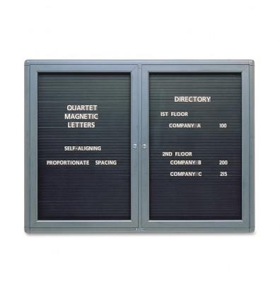 Quartet 2964LM Indoor 2 Door 4 ft. x 3 ft. Magnetic Enclosed Letter Directory Board Cabinet