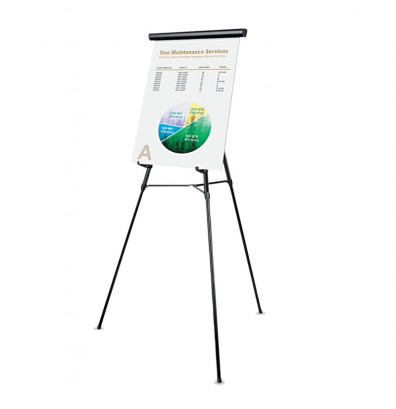 """Universal 43150 Lightweight 34"""" to 64"""" H Telescoping Tripod Easel Stand, Black"""
