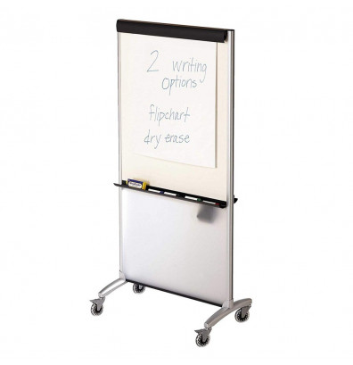 """Quartet 500TE Total Erase 33"""" x 39"""" 3-in-1 Melamine Mobile Presentation Easel (Whiteboard side shown with separate flip chart pad)"""