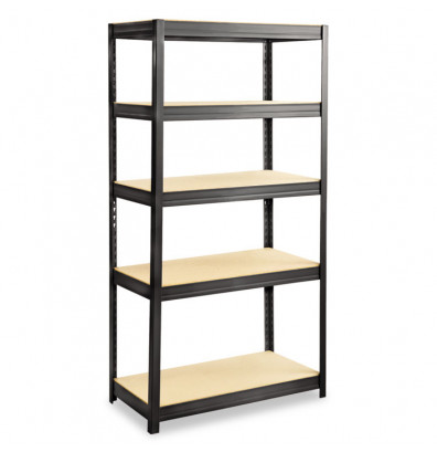 "Safco 6245BL 18"" D x 36"" W x 72"" H 5-Shelf Steel/Particleboard Boltless Shelving Unit"