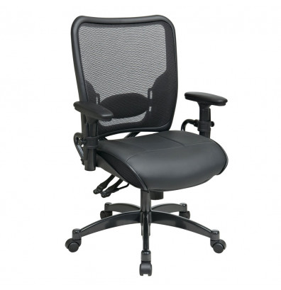Office Star Professional Dual Function AirGrid Mesh-Back Leather Mid-Back Task Chair (Model 6876)