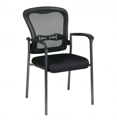 Office Star Pro-Line II ProGrid Mesh-Back Fabric Mid-Back Stacking Guest Chair