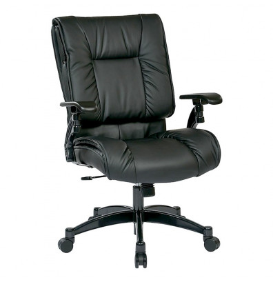 Office Star Deluxe Synchro-Tilt Top Grain Leather High-Back Office Chair