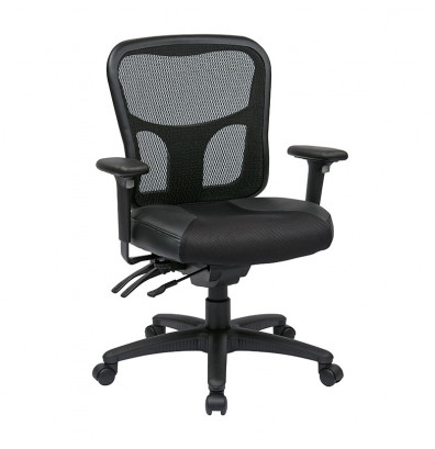 Office Star ProGrid Mesh-Back Leather Mid-Back Managers Chair