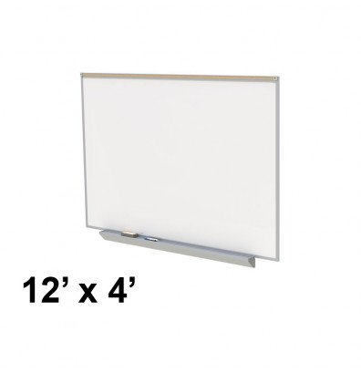 Ghent A2M412-M Premium Centurion 12 ft. x 4 ft. Porcelain Magnetic Whiteboard with Map Rail