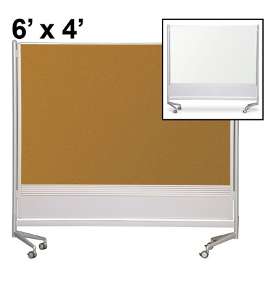 Best-Rite Dura-Rite Laminate/Cork 6 x 4 D.O.C. Mobile Divider Reversible (Both Sides Shown)
