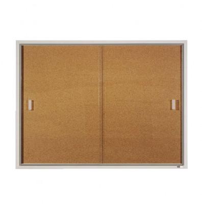 Quartet D2401 Indoor 2 Sliding Door 4 ft. x 3 ft. Aluminum Frame Cork Bulletin Board
