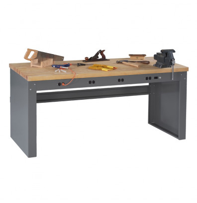 """Tennsco EB-1-3672M Hardwood Electronic Workbench with Panel Legs, Stringer, Outlet Panel (72"""" W x 36"""" D)"""