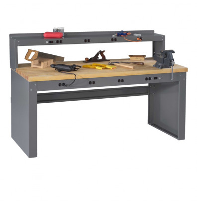 "Tennsco EB-2-3672M Hardwood Electronic Workbench with Panel Legs, Stringer, Outlet Panel, Electronic Riser (72"" W x 36"" D)"