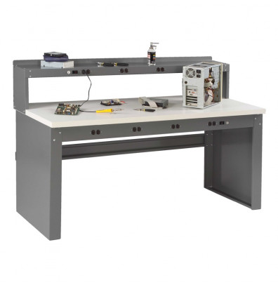 """Tennsco EB-2-3672P Plastic Laminate Electronic Workbench with Panel Legs, Stringer, Outlet Panel, Electronic Riser (72"""" W x 36"""" D)"""