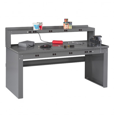 Tennsco Solid Steel Electronic Workbenches with Panel Legs (Model with Riser Shown)