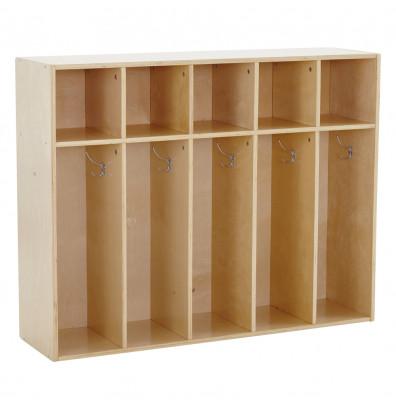ECR4Kids Birch Streamline 5-Section Toddler Coat Locker