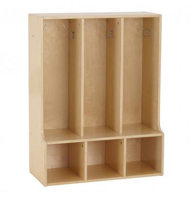 ECR4Kids Birch Streamline 3-Section Toddler Bench Coat Locker