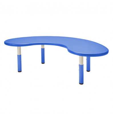 "ECR4Kids 65"" W x 35"" D Kidney-Shaped Resin Height Adjustable Classroom Activity Table (Shown in Blue)"