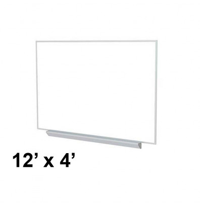 Ghent A2M412 Aluminum Frame 12 ft. x 4 ft. Porcelain Magnetic with Box Tray