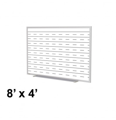 Ghent GM1-48-PEN 8 ft. x 4 ft. Penmanship Lines Graphic Porcelain Whiteboard with Blade Tray
