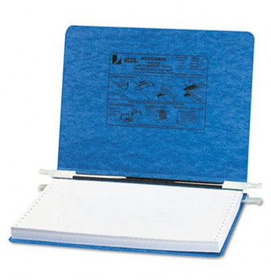 "Acco 12"" x 8-1/2"" Unburst Sheet Pressboard Hanging Data Binder, Light Blue"