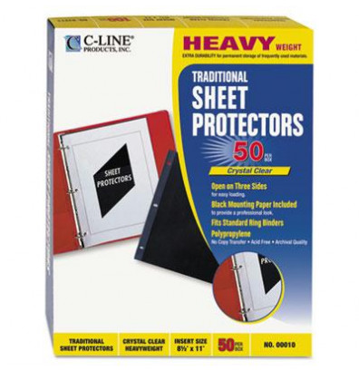 "C-Line 8-1/2"" x 11"" Heavyweight Poly Sheet Protectors, 50/Box"
