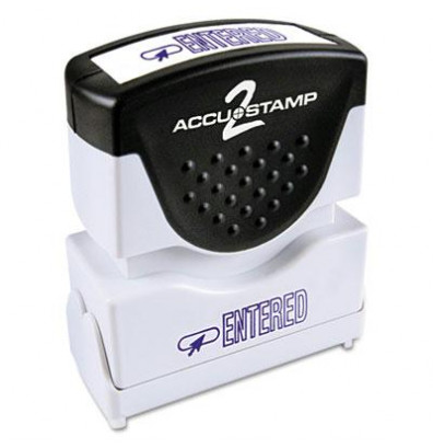 """Accustamp2 """"Entered"""" Shutter Stamp with Microban, Blue Ink, 1-5/8"""" x 1/2"""""""