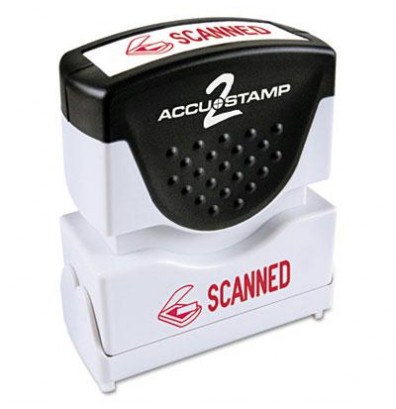 """Accustamp2 """"Scanned"""" Shutter Stamp with Microban, Red Ink, 1-5/8"""" x 1/2"""""""