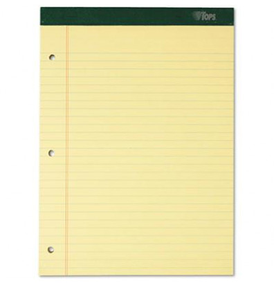 """TOPS 8-1/2"""" X 11-3/4"""" 100-Sheet 6-Pack Legal Rule Notepads, Canary Paper"""