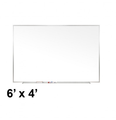 Ghent M1-46-4 Traditional Centurion 6 ft. x 4 ft. Aluminum Frame Porcelain Magnetic Whiteboard