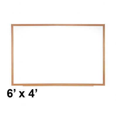 Ghent M2W-46-4 6 ft. x 4 ft. Wood Frame Melamine Whiteboard