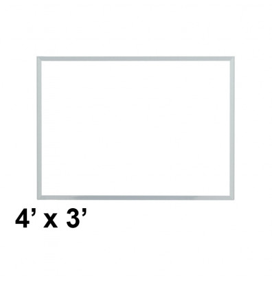 Ghent M3-34-1 Spectra 4 ft. x 3 ft. Aluminum Frame Magnetic Painted Steel Whiteboard (accessory marker tray not shown)