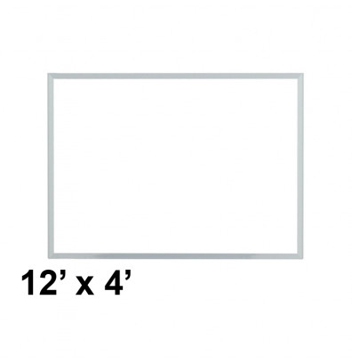 Ghent M3-412-4 Spectra 12 ft. x 4 ft. Aluminum Frame Magnetic Painted Steel Whiteboard (accessory marker tray not shown)