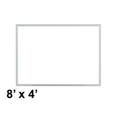 Ghent M3-48-4 Spectra 8 ft. x 4 ft. Aluminum Frame Magnetic Painted Steel Whiteboard (accessory marker tray not shown)