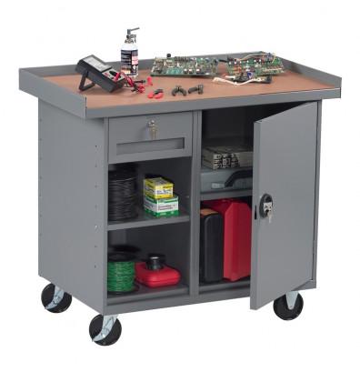 Tennsco Mobile Workbench with Cabinet, 1 Drawer & 2 Shelves