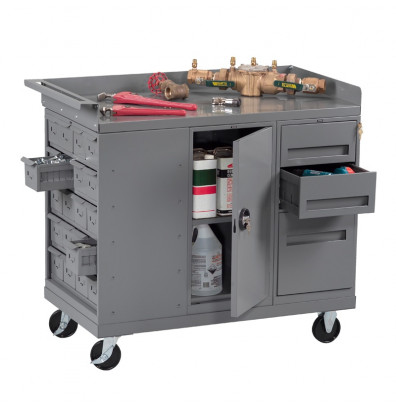 """Tennsco 48"""" Wide Mobile Workbenches (1 Cabinet, 3 Drawer, 20 Bins Model Shown)"""
