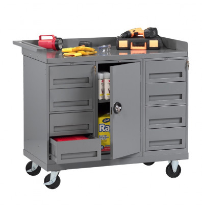 Tennsco Mobile Workbench with 1 Cabinet, 8 Drawers