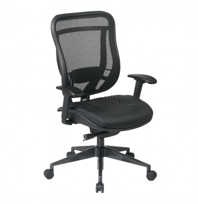 Office Star Space Seating Multifunction 300 lb. Mesh-Back Leather High-Back Executive Chair