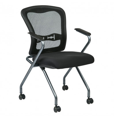 Office Star Pro-Line II Deluxe ProGrid Mesh-Back Fabric Nesting Guest Chair, 2-Pack