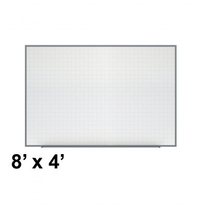 Ghent PLM3-48-0 Phantom Line 8 ft. x 4 ft. Magnetic Grid Pattern Whiteboard
