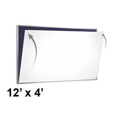 Ghent PSC-412-W PDQ 12' x 4' Porcelain Magnetic Whiteboard Skin Sheet