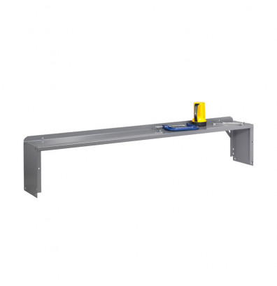 Tennsco Workbench Risers with End Supports - Accessories not included. Shown in Medium Grey.