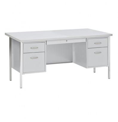 "Sandusky 500 Series 60"" W Double Pedestal Teacher Desk (Shown in Grey Top)"