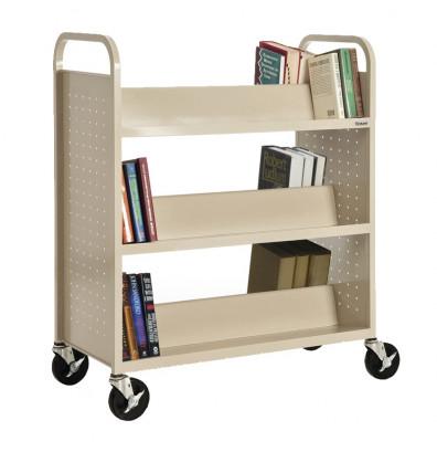 """Sandusky 39"""" W 6 Double-Sided Sloped-Shelf Booktruck (Shown In Putty)"""